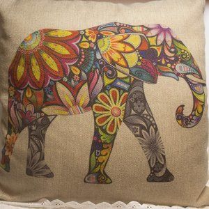 Other - Colorful Elephant Throw Pillow